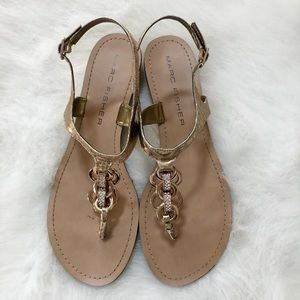 Marc Fisher Gold Chain Thong Sandals